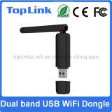 Dongle sans fil à deux bandes de réseau WiFi de Top-GS07 Ralink Rt5572 300Mbps USB avec l'antenne externe pliable