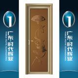Porte intérieure de tissu pour rideaux de porte en aluminium de Chambre avec le panneau en verre décoratif