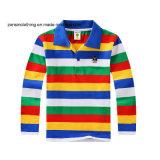 다채로운 줄무늬 접어젖힌 옷깃 아이들 폴로 t-셔츠