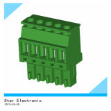 PA66 Pluggable Open Closed Pins Terminal Block Green