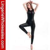 Jumpsuit Sleeveless do couro elegante do engranzamento para mulheres