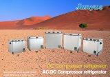 Parte inferior curvada congelador da caixa de Doubletemperature do aço inoxidável da C.C. de Scd-93L 12/24V