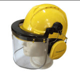 안전 헬멧 귀덮개와 챙을%s 명확한 손가락으로 튀김 정면 챙
