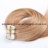 Fita dourada reta do cabelo humano da extensão do cabelo da fita