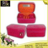 Caixa de jóia cor-de-rosa do Zipper da cor vermelha do pacote da loja (1425)