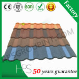 Material de construcción caliente coloreado hoja revestida de piedra de la venta del azulejo de piedra de la azotea del metal