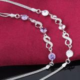 Pulsera cristalina púrpura con estilo de la plata esterlina de las mujeres 925