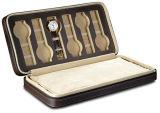 Hot Sale Leather Rectángulo caja de reloj con cremallera