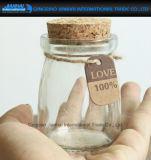 Mini vaso di vetro dell'alimento della caramella del tè con sughero per memoria