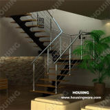 Solid Wood Tread를 가진 L Shape Stainless Steel Stairs