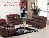 Cuir et Fabric Matching Home Recliner Sofa