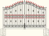 白い粉の鉄の網が付いている上塗を施してある安い鉄のゲート
