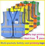 Poches multi de visibilité de sûreté de gilet d'impression de logo de gilet r3fléchissant élevé de travail uniformes
