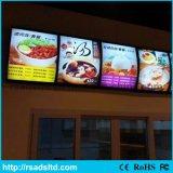 Menu di alluminio del ristorante LED che fa pubblicità alla casella chiara della visualizzazione