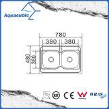 Boven de TegenGootsteen van de Keuken van Moduled van het Roestvrij staal (acs-7848D)