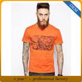 Maglietta stampata arancione di estate degli uomini su ordinazione