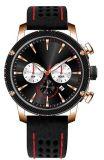 Brown OEM/ODM clássico presta atenção ao relógio impermeável de couro de quartzo do esporte