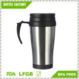 Taza de café de viaje 16 oz Insulateddouble Walled para caliente y frío - mejor manejar el dedo agarre