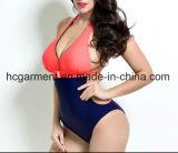 Grande Swimsuit para mulheres, desgaste de uma peça só do laço da natação do Mais-Tamanho