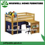 Muebles de la escuela de la cama del desván de la madera del pino con la biblioteca (WJZ-B28)