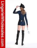 Costume Cosplay полисмена Romper фронта застежка-молнии втулки сексуального военно-морского флота длинний