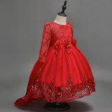 Neues kommendes Mädchen-Hochzeits-Kleid-langes Hülsen-Blumen-Mädchen-Kleid-Spitzeapplique-Rüsche-Mädchen-Festzug-Kleid-Schleife-Kind-Abschlussball-Kleid