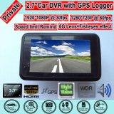 """видеозаписывающее устройство камеры автомобиля 2.7 """" HD при GPS отслеживая антенну приемника, отслеживать игры карты Google задний; черный ящик автомобиля 5.0mega FHD1080p, паркуя кулачок управления"""
