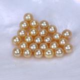 Пресноводная перла цвета круглой формы перлы покрашенная золотистая
