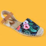 Sandali blu delle scarpe di tela di stampa del fiore delle signore di modo di estate piani