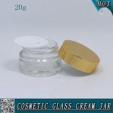 20ml освобождают косметический стеклянный Cream опарник с алюминиевыми крышками