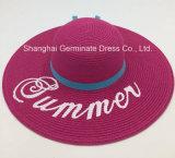 Chapéu de palha de papel com a borda larga com logotipo impresso Sh051