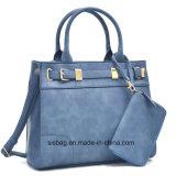 Sacos de couro da forma do plutônio da bolsa azul das mulheres da cor com carteira