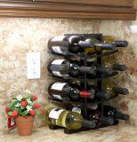 Crémaillère en bambou de vin d'expresso foncé du support 12-Bottle de matériau solide