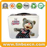 Griff-Mittagessen-Zinn-Kasten, Metallnahrungsmittelzinn-Behälter, Geschenk-Zinn