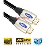Câble 1.4 de HDMI plaqué par or avec la tresse en nylon