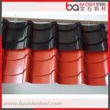 El color de PPGI cubrió la hoja de acero galvanizada material para techos acanalado de la bobina