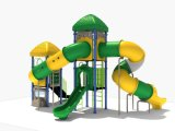 114mm galvanisierte Pfosten-bunte luxuriöse zwei Schichten Plattform und drehendes Gefäß-Plättchen-Kind-im Freienspielplatz-Gerät