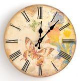 Reloj de pared redondo decorativo de madera de la raya del diseño del estilo toscano rústico colorido del país