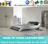 Populäres modernes schwarzes echtes Leder-Hauptbett (HC301)