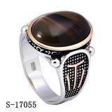 925 anéis de prata dos homens da forma com pedra natural