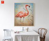 Decoração vermelha da arte da parede da avestruz da pintura a óleo da lona do algodão