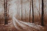Peinture à l'huile pour la rue dans la forêt