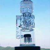 Hbking 19 pouces - pipe de fumage en verre de Perc de 7mm de l'épaisseur 3 de glace de tube grand de Notchs