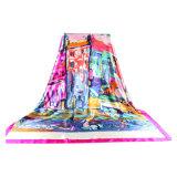 Печати цифров фабрики шарф изготовленный на заказ Silk с изготовленный на заказ логосом
