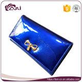 Het nieuwe Leer van de Elegantie van de Aankomst Blauwe Echte Dame Mighty Wallet