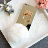3D caso da tampa traseira do telefone do fluff POM POM com o espelho para o caso do iPhone