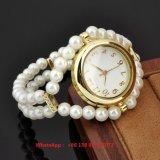 Uhr der würdevollen hübschen Quarz-Frauen mit Perlen-Brücke Fs580