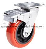 Echador resistente de la base plástica roja de la PU, tipo del eslabón giratorio