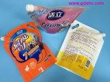 Saco de pé plástico do alimento do saco do líquido de lavagem da forma especial