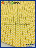 Paille de papier de bande de Chevron de jaune de décoration d'usager de bébé